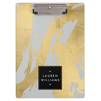 Abstract Faux Gold Brushstrokes on Gray Clipboard