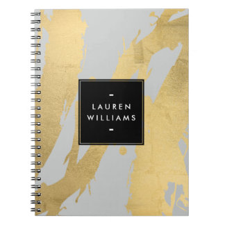 Abstract Faux Gold Brushstrokes on Gray Note Book