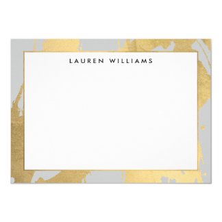 Abstract Faux Gold Brushstrokes on Gray Note Card 11 Cm X 16 Cm Invitation Card
