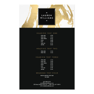 Abstract Faux Gold Brushstrokes on White Flyer