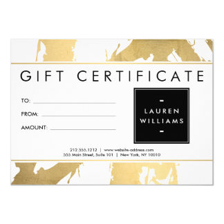Abstract Faux Gold Brushstrokes on White Gift Card