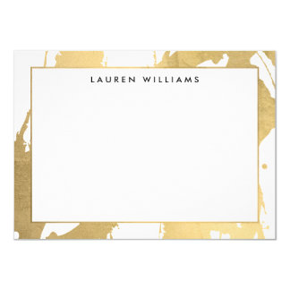 Abstract Faux Gold Brushstrokes on White Note Card 11 Cm X 16 Cm Invitation Card