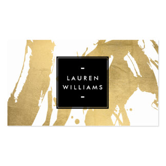 Abstract Faux Gold Brushstrokes on White Pack Of Standard Business Cards