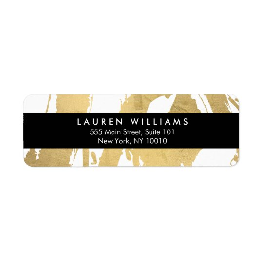 Abstract Faux Gold Brushstrokes on White Return Address Label