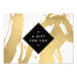 Abstract Faux Gold Foil Brushstrokes Gift Card 11 Cm X 16 Cm Invitation Card