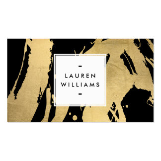 Abstract Faux Gold Foil Brushstrokes on Black Pack Of Standard Business Cards