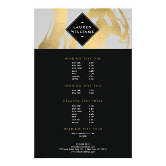 Abstract Faux Gold Foil Brushstrokes on Gray 14 Cm X 21.5 Cm Flyer