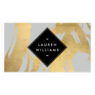 Abstract Faux Gold Foil Brushstrokes on Gray Pack Of Standard Business Cards