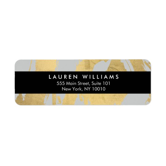 Abstract Faux Gold Foil Brushstrokes on Grey Return Address Label