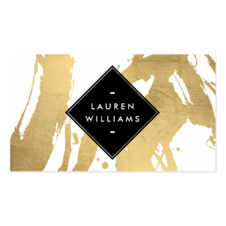 Abstract Faux Gold Foil Brushstrokes Pack Of Standard Business Cards