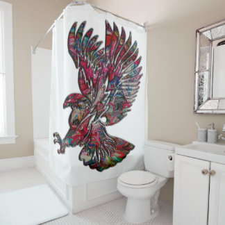 Abstract Faux Metallic Tribal Eagle Shower Curtain