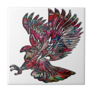 Abstract Faux Metallic Tribal Eagle Small Square Tile