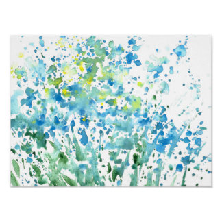 Abstract Field of Flowers Poster