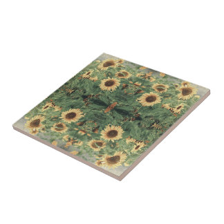 Abstract Field Of Giant Yellow Sunflowers Ceramic Tile