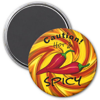 abstract fiery swirl caution hot & spicy magnet