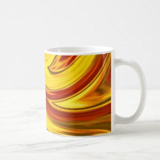 abstract fiery swirl gold red orange coffee mug