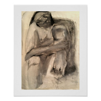 Abstract figure in charcoal poster