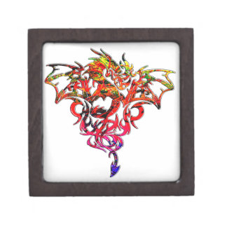 Abstract Fire Breathing Tribal Dragon Premium Jewelry Box
