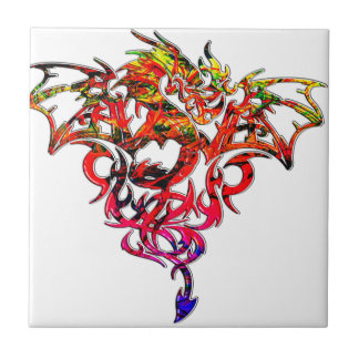 Abstract Fire Breathing Tribal Dragon Small Square Tile