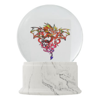Abstract Fire Breathing Tribal Dragon Snow Globes