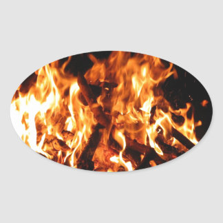 Abstract Fire Hot Ember Oval Sticker