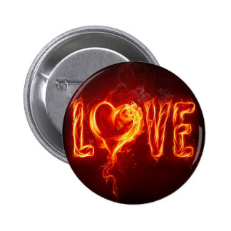 Abstract Fire Love Heart Pinback Button