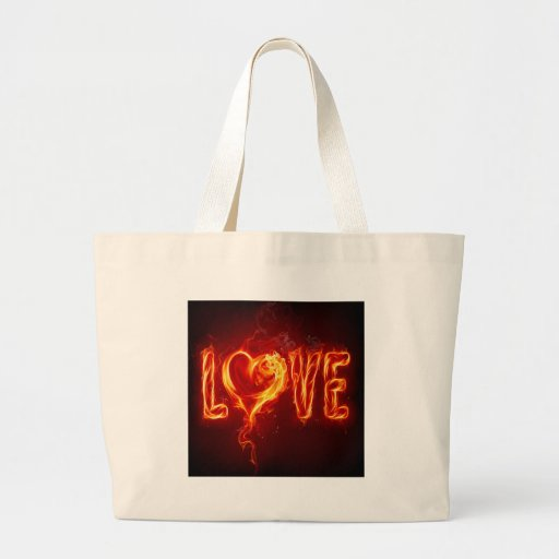 Abstract Fire Love Heart Tote Bag