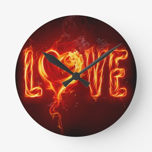 Abstract Fire Love Heart Round Clock