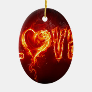 Abstract Fire Love Heart Ornament