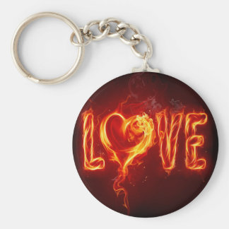 Abstract Fire Love Heart Key Chain