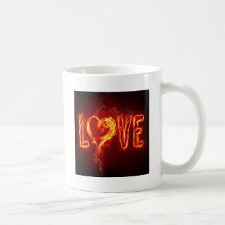 Abstract Fire Love Heart Mugs