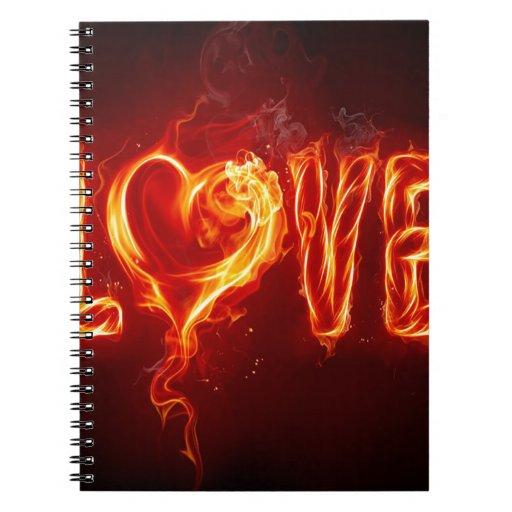 Abstract Fire Love Heart Journal