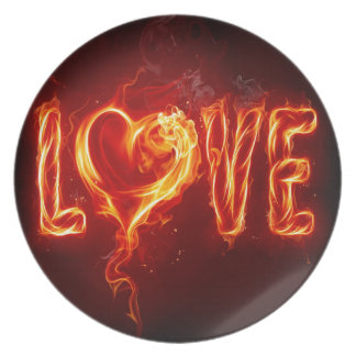 Abstract Fire Love Heart Party Plates