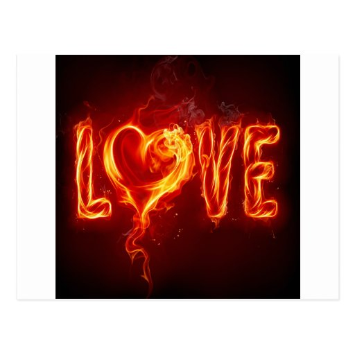 Abstract Fire Love Heart Post Card