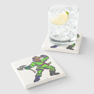 Abstract Firemen Stone Beverage Coaster