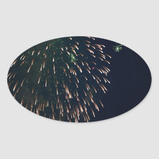 Abstract Fireworks Green Chandelere Oval Sticker