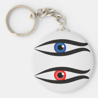 Abstract fish with large eyeball inside basic round button key ring