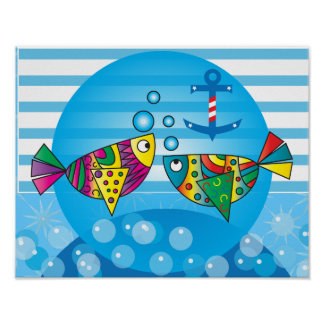 Abstract Fishy Nursery Theme Poster