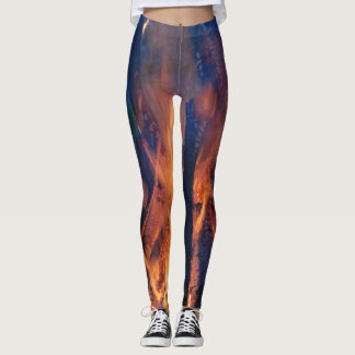 Abstract flame and charred wood pattern leggings