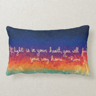 Abstract Flame Rumi Quote Lumbar Cushion