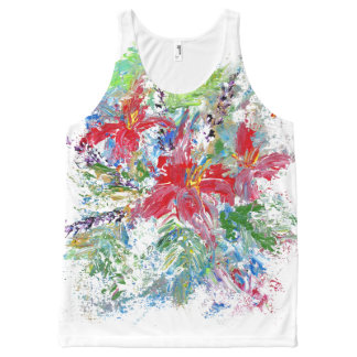 Abstract Floral All-Over Print Tank Top