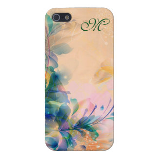 Abstract Floral Background Blue And Beige Case For The iPhone 5