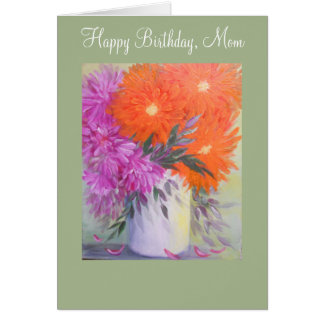 Abstract Floral, birthday card for Mum