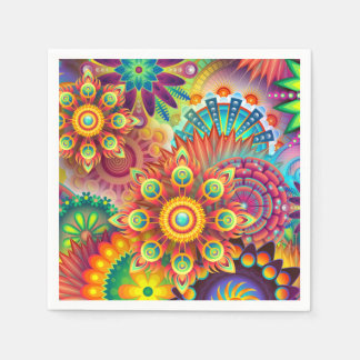 Abstract Floral Bold Color Party Napkins Disposable Napkin