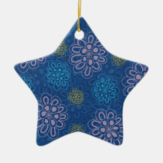 abstract floral ceramic star decoration