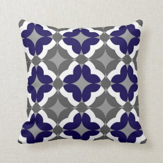 Abstract Floral Clover Pattern in Cobalt and Grey Cushion