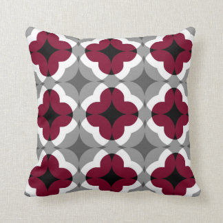 Abstract Floral Clover Pattern in Red and Grey Cushion