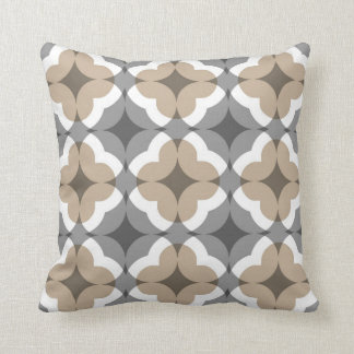 Abstract Floral Clover Pattern in Tan and Grey Cushion