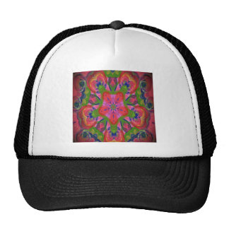 Abstract floral design mesh hats