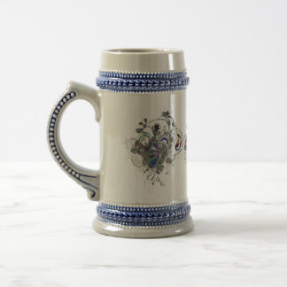 Abstract Floral Design 18 Oz Beer Stein